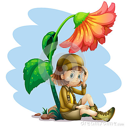 An adventurer under the shade of a flower
