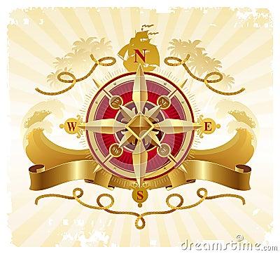 Adventures vintage emblem with golden compass rose