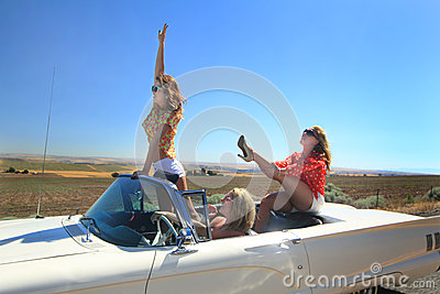 Adventurous Girls In Convertible Stock Photo Image 38818156