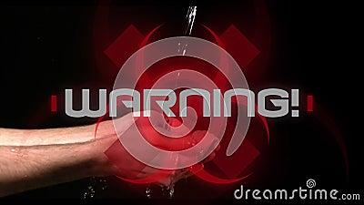 Advertencia de palabra. escrito sobre el signo de peligro para la salud sobre la persona lavándose las manos con el fondo negro almacen de metraje de vídeo