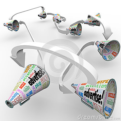 Advertise Bullhorn Megaphones Connected Spreading Marketing Mess