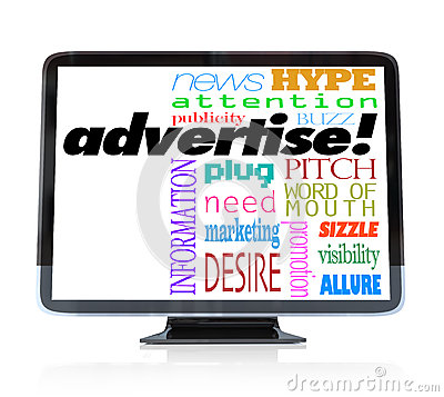 Advertise Marketing Words on HDTV Television
