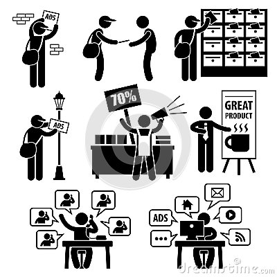 Free Advertisement Marketing Strategy Pictograms Royalty Free Stock Photography - 30093677