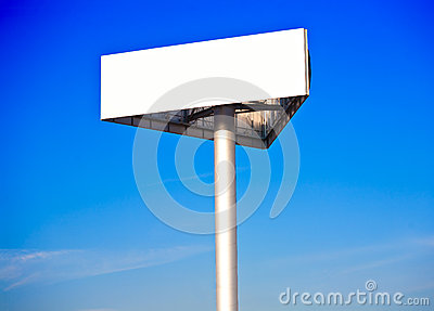Advertising billboard on a blue morning sky