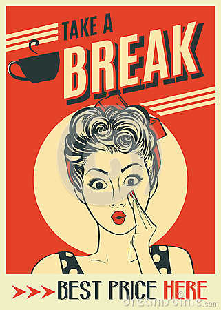 Free Advertising Coffee Retro Poster With Pop Art Woman Stock Image - 96742701