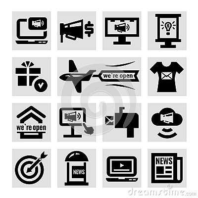 Advertising and marketing icons set