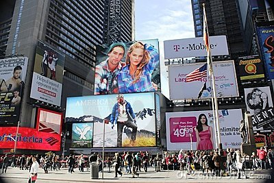 Advertising in Times Square.NYC Editorial Stock Photo