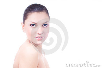 Advertising young beautiful woman isolated