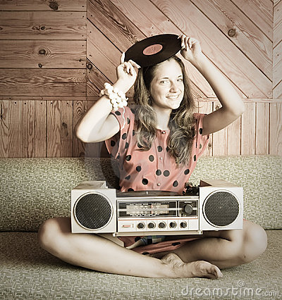 Free Ady On Sofa And Vintage Record Player Royalty Free Stock Image - 16347956
