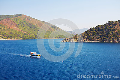 Aegean sea landscape with ship