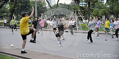 Aerbobics in a Park in Bangkok Editorial Photography