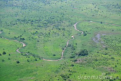Aerial of African savannah