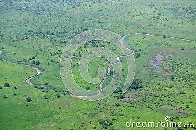 Aerial of African savannah