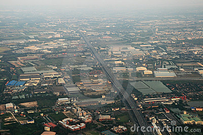 Aerial Bangkok outskirts