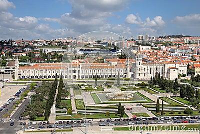 Aerial of Belem, Lisbon, Portugal