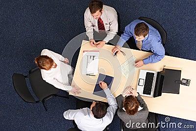 Aerial business meeting