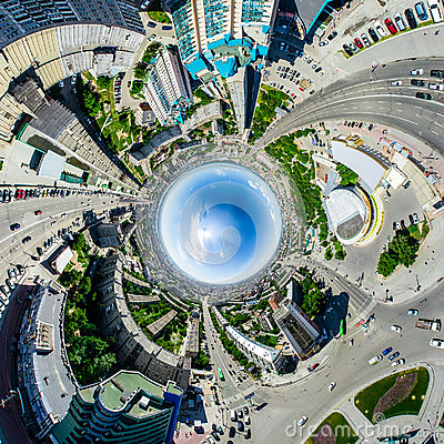 Free Aerial City View. Urban Landscape. Copter Shot. Panoramic Image. Stock Image - 74665701