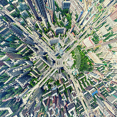 Free Aerial City View. Urban Landscape. Copter Shot. Panoramic Image. Royalty Free Stock Photography - 88803057