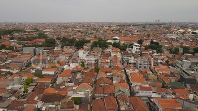 Surabaya capital city east java, indonesia. Aerial cityscape densely built asian city Surabaya with buildings and houses, city skyline. urban environment in asia stock footage