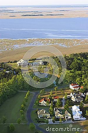Aerial coastal neighborhood
