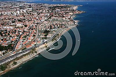 Aerial coastline view