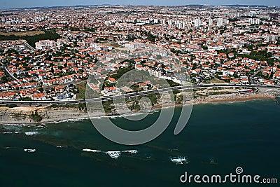 Aerial coastline view with sandy beach