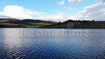 Aerial drone footage over Frenchman Lake, California stock footage