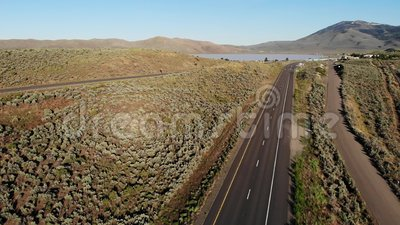 Highway 395 in rural California and Nevada, USA stock video footage
