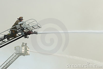 Aerial Firefighters at Scene Editorial Image