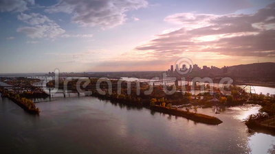Aerial Footage of Montreal and Jacques-Cartier bridge city in Quebec, Canada. During Autumn stock video