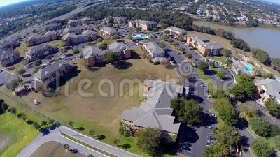 Aerial homes. Aerial footage of residential homes in Orlando Florida stock video