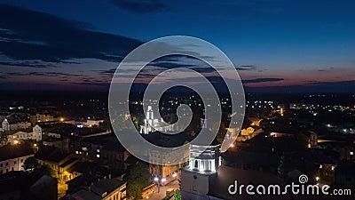 Aerial hyperlapse video of Sambor Ukraine at night. 4k stock video