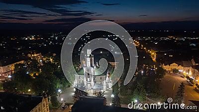Aerial hyperlapse video of Sambor Ukraine at night. 4k stock footage