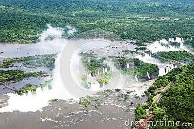 Aerial view Iguazu Falls