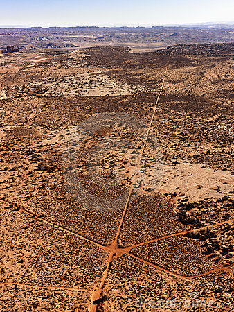 Aerial of Intersecting Dirt Roads