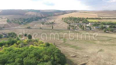 Aerial landscape from Moldova, in a summer day. Aerial landscape from Moldova, in a summer day, green stock video