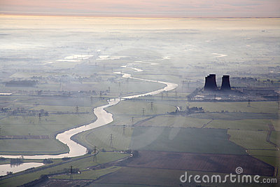 Aerial of misty morning river