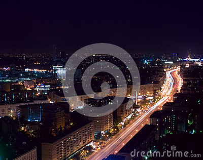 Aerial Moscow city night