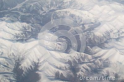 Aerial mountain range