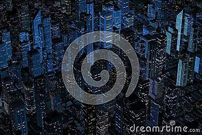 Aerial Night Retro looking Modern city
