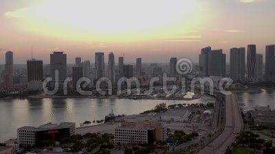 Aerial over Port Miami View of Downtown 4k 60p archivi video