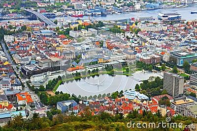 Aerial panorama of Bergen, Norway
