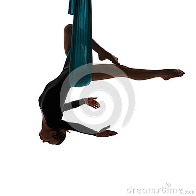 Free Aerial Performer Hanging In Butterfly Pose Stock Images - 54401164