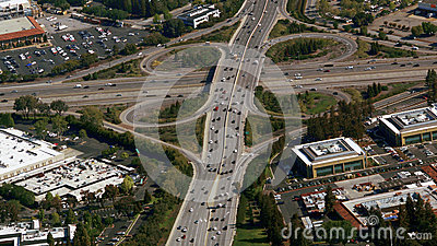 Aerial photo of busy highway intersection