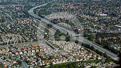 Aerial photo of busy highway