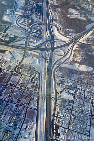 Aerial photo of highway intersection