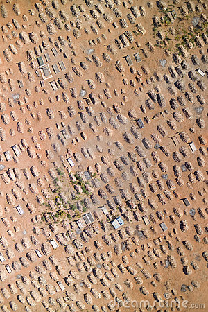 Aerial photograph of a graveyard