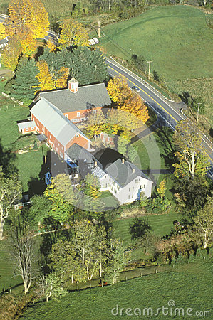 An aerial photography of a farm