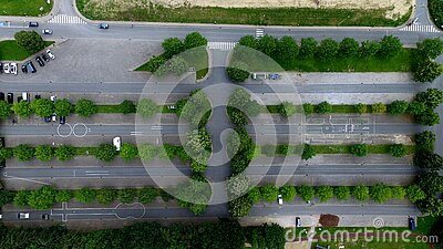 Aerial Photography Of Parking Lot With Trees Free Public Domain Cc0 Image