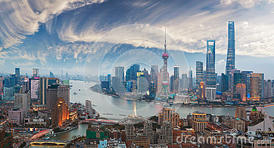 Aerial photography at Shanghai bund Skyline of twilight Stock Photo